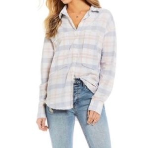 Free People Woven Plaid Shirt Large Pastel A37